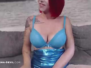 Huge-Titted, level with haired stunner is wearing blue undergarments while posing before of the camera