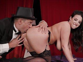 Milf with big tits, naughty anal magic trick