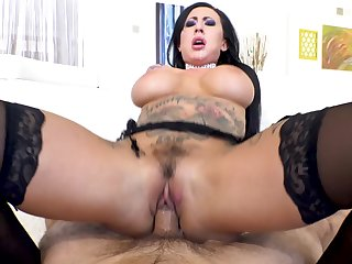 Big-breasted pornstar Lily Lane squirts from hard anal drilling