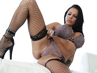 Naughty busty Latina brunette Lilith Lavey ass fucked hard