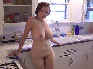 Russian MILF Natasha Kitchen Striptease