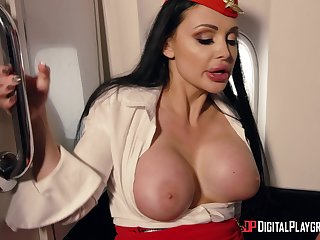 Fake tits Aletta pounded doggystyle in private jet