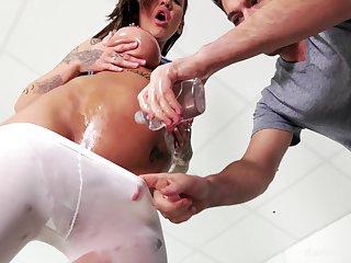 Oiled up sporty inked mature slut Chantelle Fox pounded hardcore