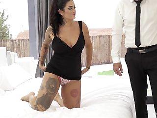 Chubby tattooed brunette Raquel Adan gets fucked in the ass hardcore