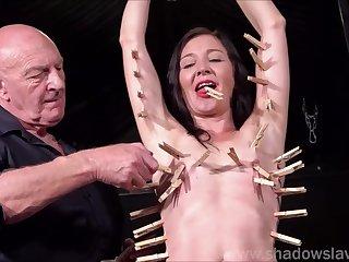 Pegged amateur slavesluts tit torture and kinky bdsm of sub