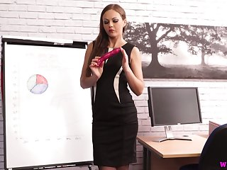 Buxom long haired secretary Tina Kay desires to go solo at work