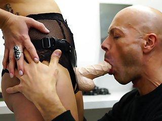 Dominant female butt fucks her slave in the hardest modes