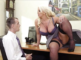 Big tits in office: busty MILF boss and her male employee