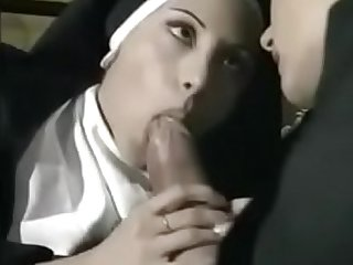 Horny nuns taking turns sucking and riding a priest