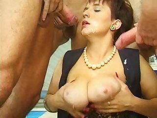 Sex addicted MILF Janine Woods hardcore gangbang video