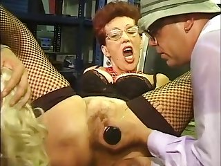 Blond Hair Lesbian & redhead Bi-MILF sucking off men at work