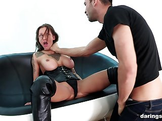 Inked mature babe in leather Chantelle Fox gets an oral creampie