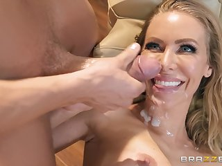 Blonde blue eyed beauty Nicole Aniston sprayed with cum on face