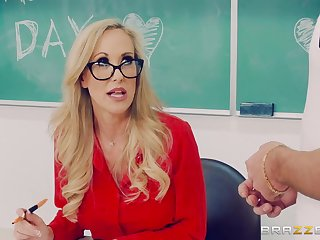 Brandi Love fucks with handsome dude Lucas Frost in the classroom