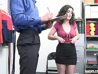 Horny office slut Lyra Lockhart is eager to be fucked missionary on table