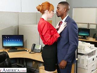 Eye catching milf Lauren Phillips seduces well endowed black co-worker