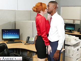 Lusty red haired office slut Lauren Phillips wanna ride strong long BBC