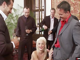 Sarah Twain and one more horny mature blow hard dicks in the room