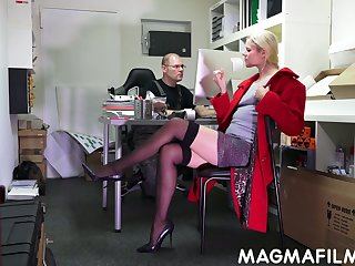 Nerd dude fuck slutty blond colleague Claudia Bitch right in the office