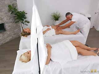 Instead of massage horny Julie Cash gets a hard masseur's penis