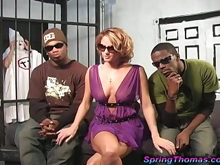 Lewd attorney Spring Thomas is brutally fucked by black prisoners