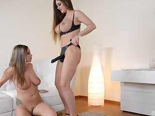 Classy lesbian strap on pounding with Cathy Heaven and Rachele Richey