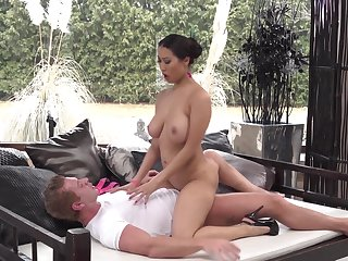 Busty Asian on high heels, supreme anal sex