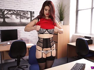 Perverted a bit plump sexpot with huge boobies Lucia Love rides dildo on table