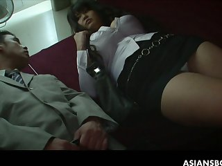 Kinky big breasted Asian hoe Airi Ai has to suck delicious hairy cock
