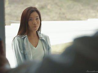 Skinny Asian babe Vina Sky gets intimate with ebony nextdoor milf