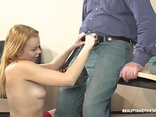 Blonde MILF Rebecca Black seduces an old guy and rides him