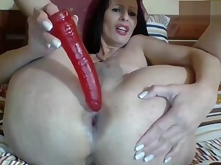 Horny shemale milf with nice ass jerking her cock and ass playing
