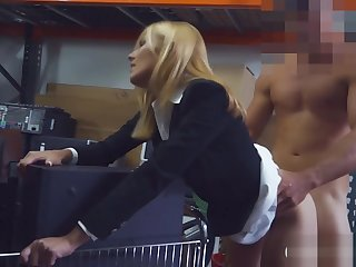 Blonde milf sucks off and gets drilled in storage room