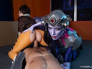 VRCosplayX Widowmaker and Tracer Sharing Your Male Pole